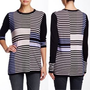Vince Intarsia Stripe Wool Colorblock Sweater